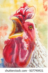 rooster, painted with watercolors