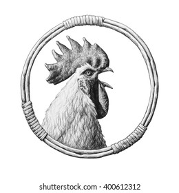 Rooster in a round wicker frame. Pencil illustration.