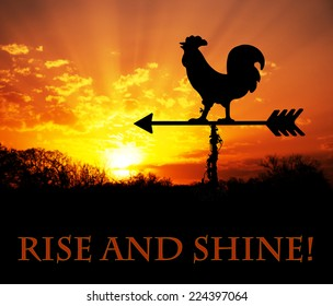 Rooster weather vane against sunrise, with Rise and Shine - text, get up and be awesome today