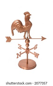 A rooster weather vane isolated over white