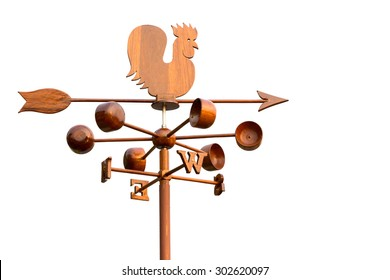 Rooster wind weather vane on white background