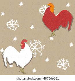 roosters pattern red gray