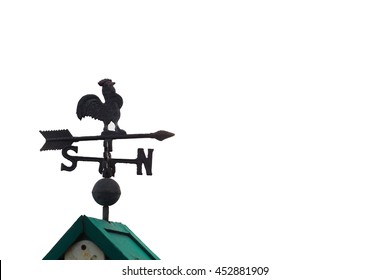 rooster-shaped weathervane, silhouette on white.