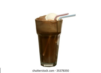 root beer float, isolated on white, room for your text