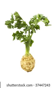 Root of celery with leaves isolated on pure white