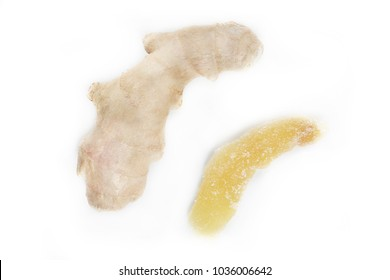 root of ginger and dried ginger on a white background