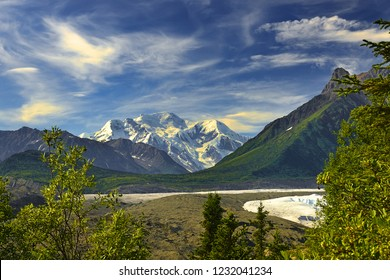 Root Glacier, McCarthy and Old Kennecott copper Mine a destination of tourists seeking access to Wrangell-St. Elias National Park and Preserve, Alaska, USA, UNESCO World Heritage Site