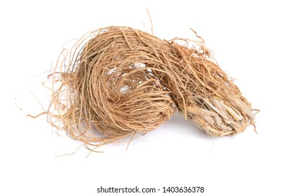 Roots of Chrysopogon zizanioides, commonly known as vetiver. Isolated on white background