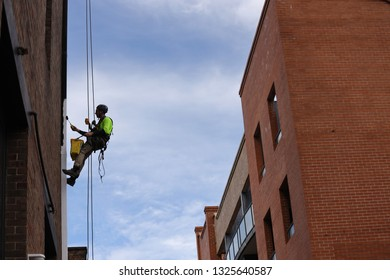 Rope access abseiler building maintenance services painter abseiling with safety static twin ropes painting down pipe with roller brush on hight rise building site Sydney CBD, Australia
