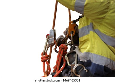 Rope access industry abseiler worker working at height abseiling resting by hanging on fall safety body chest harness safety secondary ascender device with isolated white background