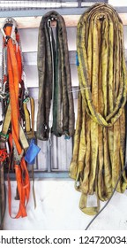 Rope and belts in the storage area in the maintenance room.