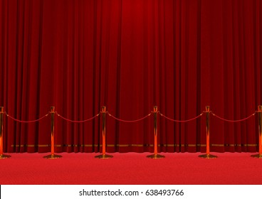 rope between golden barriers and a red carpet background