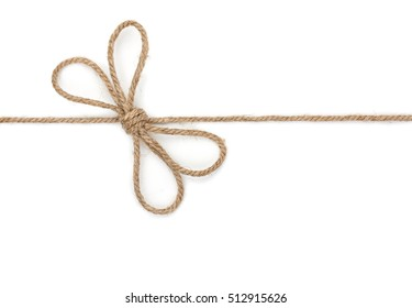 Rope with bowknot, isolated on white background, close-up.