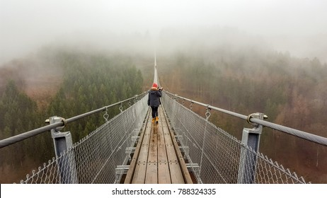 Rope bridge in the mountains