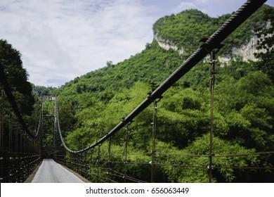 Rope bridge ,Suratthani ,Thailand