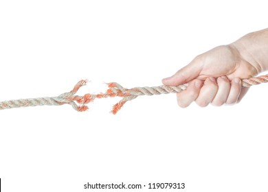 The rope is broken in the men's hands. On a white background.