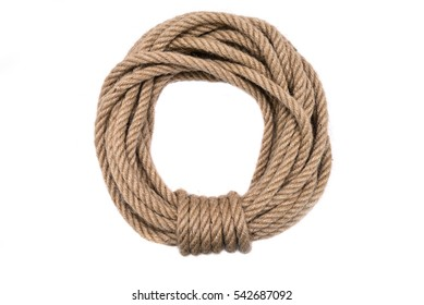 Rope circle neatly folded. Rope for climbing.