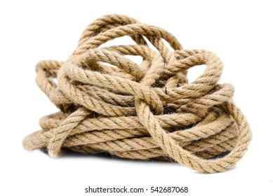 Rope closeup on white background isolated