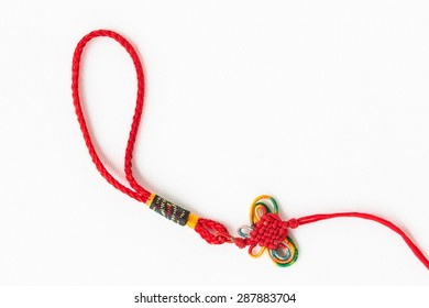 rope crochet of chinese style. Symbol of good luck, Chinese knot.