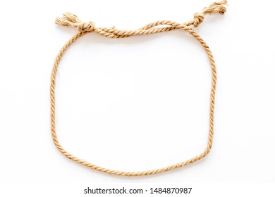 rope frame on white background top view mock up