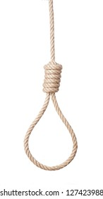 Rope with hangman's noose isolated on white background.