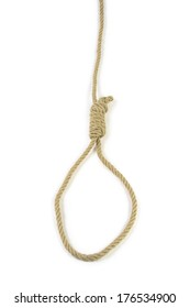 Rope with hangman's noose isolated on white background