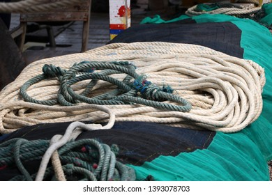 Rope heap for trawling in the fishing boat.
