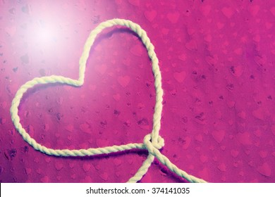 Rope heart, Concept background for Valentines day
