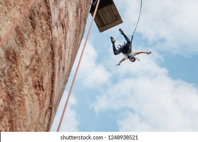 rope jumping is an extreme sport for everyone. Bungee jumping. adrenaline and risk