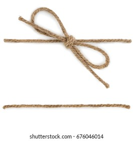 Rope with knot, bow knot, isolated on white background.