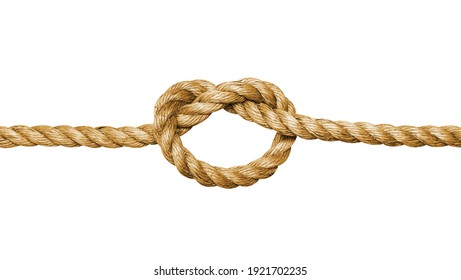 Rope with a knot isolated on white background