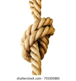 Rope knot isolated on a white background. Concept for trust, faith, strength or stress.