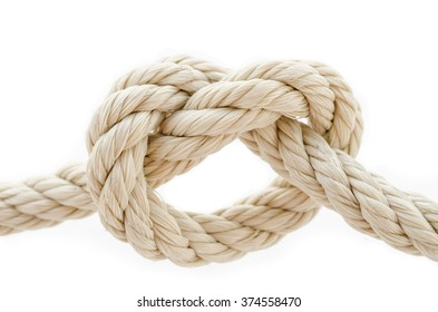Rope knot on a white background.