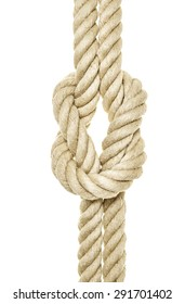 Rope with knots as Cut in front of white background
