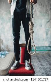 Rope loop, junkie is going to hang himself