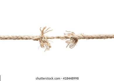 Rope nearly torn apart isolated - risk concept