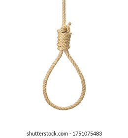 Rope noose for hangman, suicide made of natural fiber rope isolate on white background. Hemp rope noose for homicide or commit suicide concept. Hang rope knot for gallows and Hang mans real