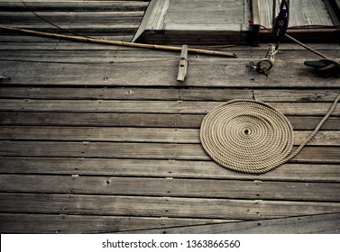 Rope on wooden ship planks