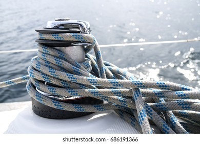 Rope on a yacht, Rope and winch on a yacht, Twisted rope on a yacht, Sail rope on the sail boat