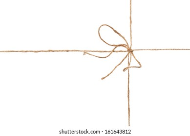 Rope parcel wrap with bow isolated on white background with copy