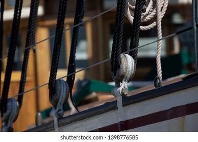 Rope and pulleys on an old ship