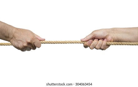 Rope pulling. Isolated on a white background.