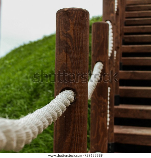 Rope Railing On Stairs Stock Image Download Now