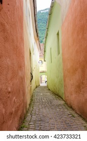 Rope Street in Brasov, Romania (Strada Sforii). It is believed to be one of the narrowest streets in Europe.