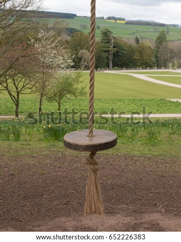Rope Swing Circular Wooden Seat Parkland Stock Photo Edit Now