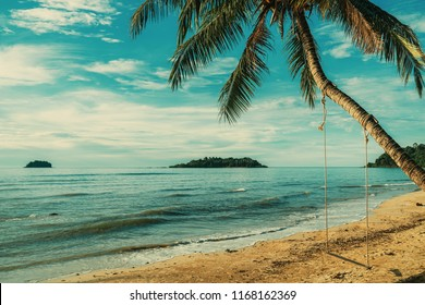 Rope swing swings on the palm. Tropical beach. Holiday vacation concept. Vintage effect.