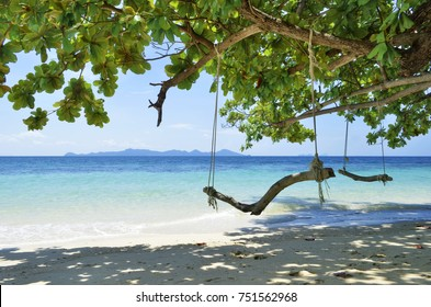 Rope swings on the beach at Koh Kradan in the Andaman Sea