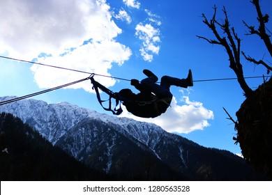Rope Traversing / Zip Lining in the beautiful mountains of Arang Kel , Kashmir , Pakistan