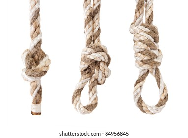 rope twisted in a knot is isolated on a white background