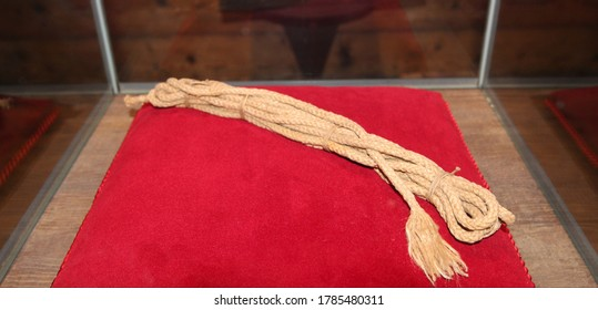 The rope used on the first ascent of the Matterhorn. The rope broke during the descent from the peak.